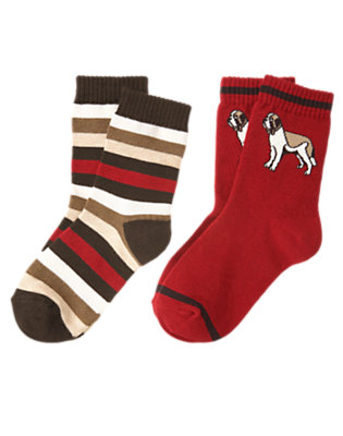 Boys Alpine Red Rescue Dog Stripe Sock Two-Pack by Gymboree