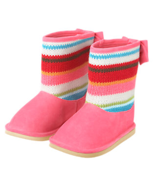 Winter Pink Stripe Stripe Sweater Boot by Gymboree