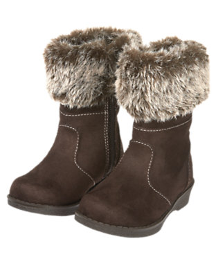 Toddler Girls Chestnut Brown Faux Fur Cuff Boot by Gymboree