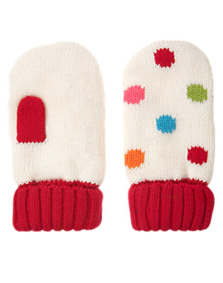 Holiday Ivory Dot Dot Sweater Mitten by Gymboree