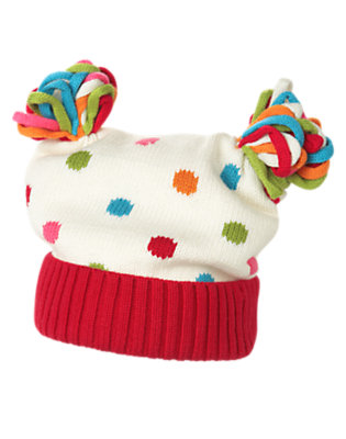 Toddler Girls Holiday Ivory Dot Dot Sweater Hat by Gymboree