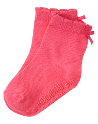 Toddler Girls Winter Pink Bow Sock by Gymboree