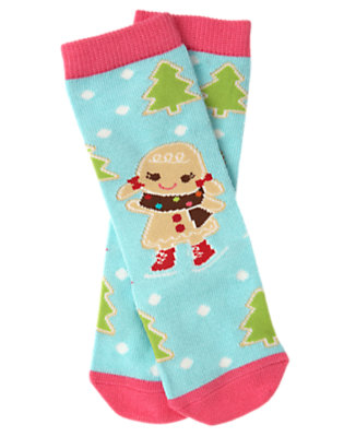 Toddler Girls Cozy Blue Gingerbread Girl Knee Sock by Gymboree