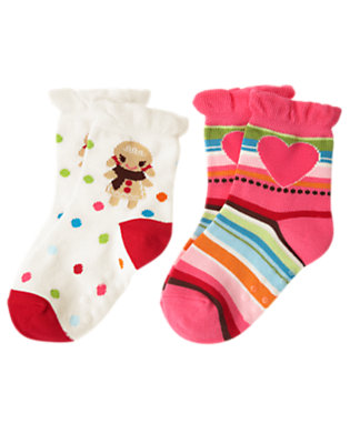 Toddler Girls Winter Pink Gingerbread Girl Stripe Sock Two-Pack by Gymboree