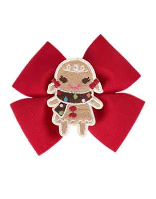 Toddler Girls Cheery Red Gingerbread Girl Bow Hair Clip by Gymboree