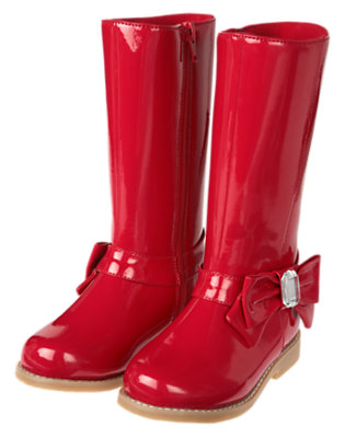 Cheery Red Gem Bow Patent Boot by Gymboree