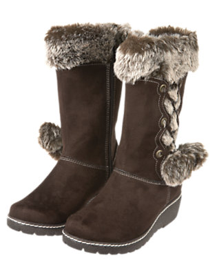 Chestnut Brown Pom Pom Faux Suede Boot by Gymboree