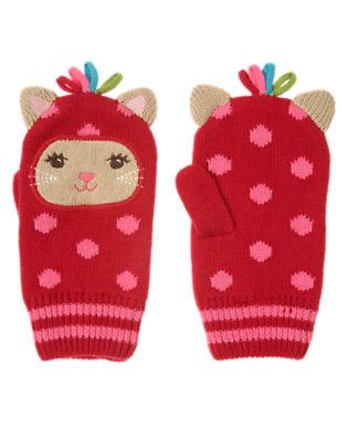 Cheery Red Dot Kitty Dot Sweater Mitten by Gymboree