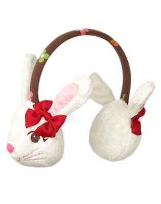 Ivory/Chestnut Brown Plush Bunny Earmuff by Gymboree