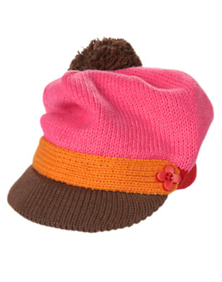 Winter Pink Flower Button Sweater Hat by Gymboree