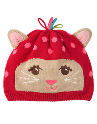 Cheery Red Cat Face Sweater Hat by Gymboree