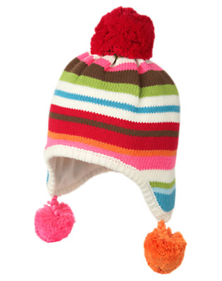 Girls Winter Pink Stripe Pom Pom Stripe Sweater Hat by Gymboree