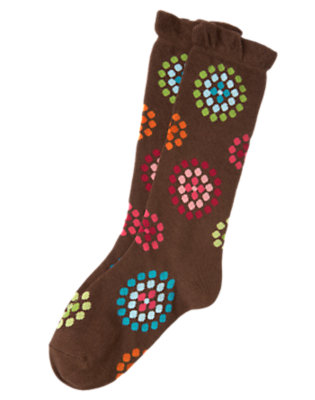 Chestnut Brown Dot Flower Dot Flower Knee Sock by Gymboree