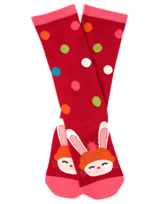 Girls Cheery Red Dot Bunny Knee Sock by Gymboree