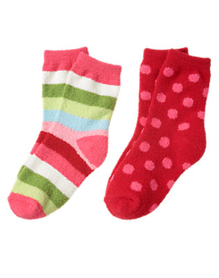 Girls Cheery Red Dot Stripe Dot Chenille Sock Two-Pack by Gymboree