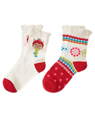 Holiday Ivory Cat Flower Sock Two-Pack by Gymboree