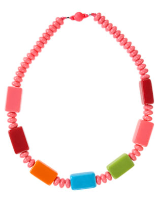 Girls Winter Pink Rectangle Bead Necklace by Gymboree