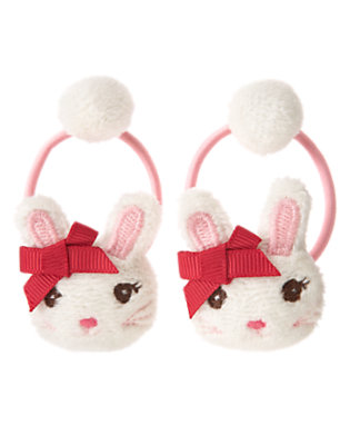 Holiday Ivory Plush Bunny Pony Holder Two-Pack by Gymboree