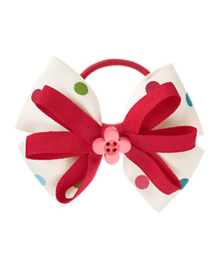 Girls Holiday Ivory Dot Button Dot Bow Pony Holder by Gymboree