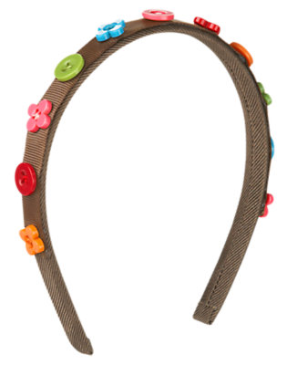 Girls Chestnut Brown Flower Button Headband by Gymboree