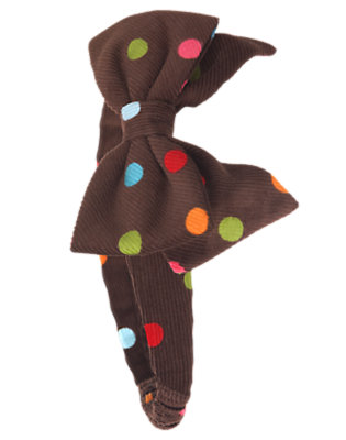 Chestnut Brown Dot Bow Dot Corduroy Fruffle by Gymboree