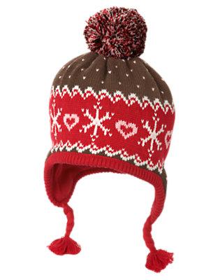 Chestnut Brown Fair Isle Pom Pom Fair Isle Sweater Hat by Gymboree