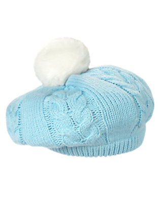 Toddler Girls Snowflake Blue Pom Pom Cable Sweater Hat by Gymboree