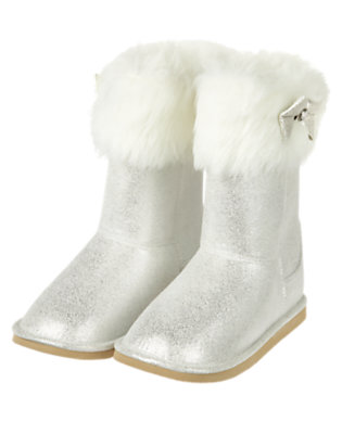 Metallic Silver Metallic Faux Fur Boot by Gymboree