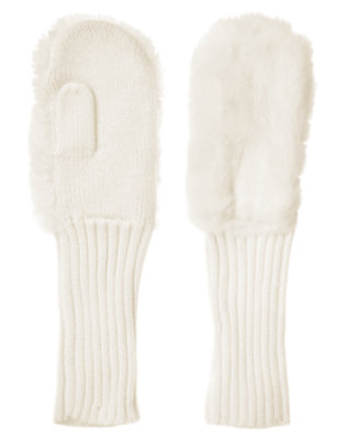 Holiday Ivory Faux Fur Sweater Mitten by Gymboree