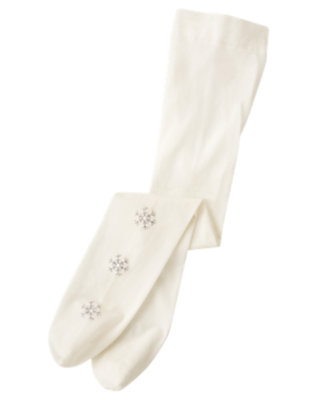 Girls Holiday Ivory Glitter Snowflake Tight by Gymboree