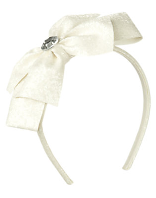 Girls White Gem Glitter Bow Headband by Gymboree
