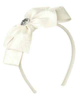White Gem Glitter Bow Headband by Gymboree