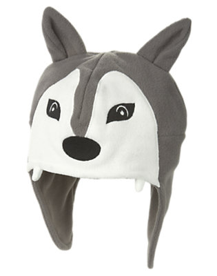Boys Soft Heather Grey Wolf Sweater Hat by Gymboree