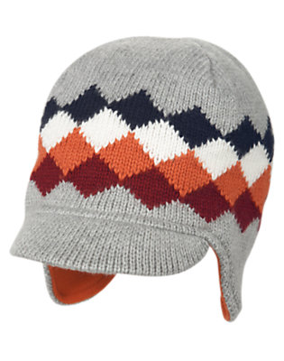 Soft Heather Grey Diamond Sweater Hat by Gymboree