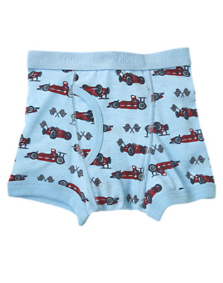 Toddler Boys Light Blue Race Car Boxer Brief by Gymboree