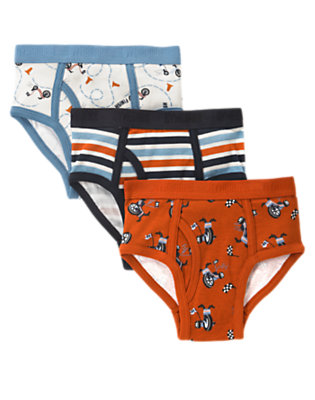 Boys Orange Ochre Bicycle Brief Three-Pack by Gymboree