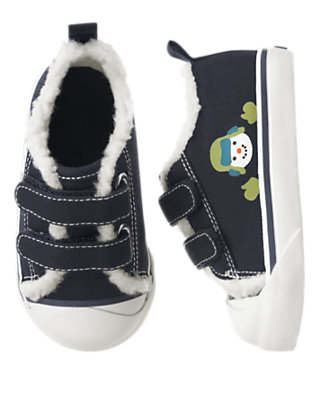 Toddler Boys Navy Snowman Sherpa Lined Sneaker by Gymboree