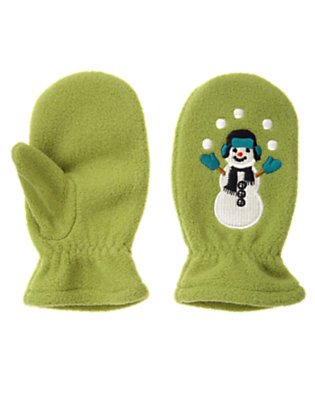 Toddler Boys Moss Green Snowman Microfleece Mitten by Gymboree