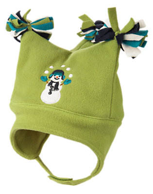 Toddler Boys Moss Green Snowman Pom Pom Microfleece Hat by Gymboree