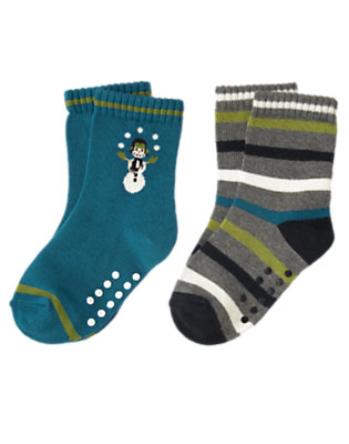 Toddler Boys Teal Blue Snowman Stripe Sock Two-Pack by Gymboree