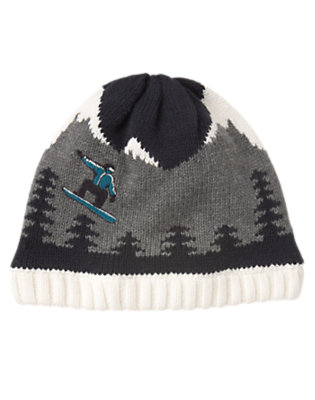 Boys Heather Grey Snowboarder Sweater Beanie by Gymboree