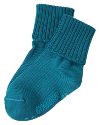 Boys Teal Blue Foldover Sock by Gymboree