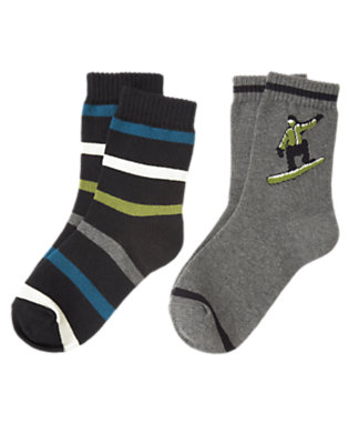 Boys Heather Grey Snowboarder Stripe Sock Two-Pack by Gymboree