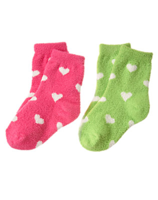 Toddler Girls Loveable Pink Heart Heart Chenille Sock Two-Pack by Gymboree