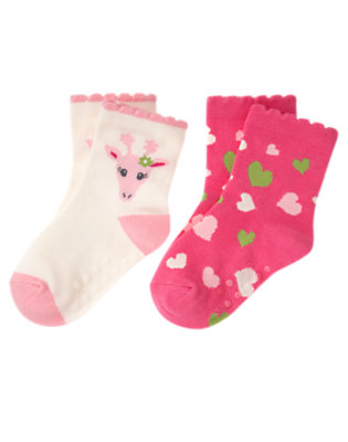 Toddler Girls Holiday Ivory Giraffe Giraffe Heart Sock Two-Pack by Gymboree