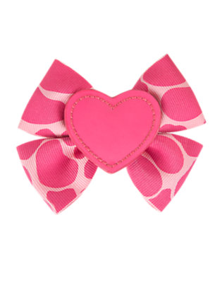Toddler Girls Loveable Pink Giraffe Heart Giraffe Bow Hair Clip by Gymboree