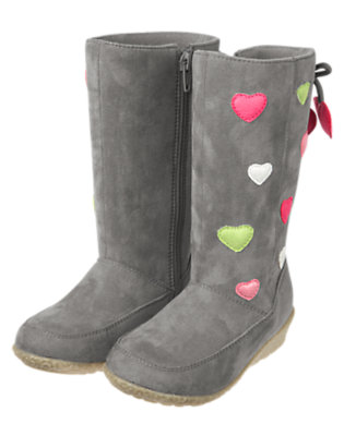 Girls Heather Grey Heart Faux Suede Boot by Gymboree