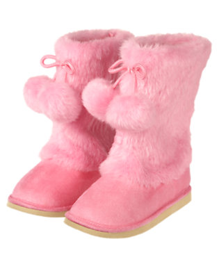 Playful Pink Pom Pom Faux Fur Boot by Gymboree