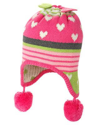 Loveable Pink Heart Heart Stripe Sweater Hat by Gymboree