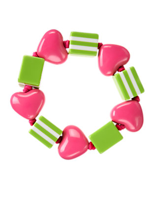 Girls Bright Pink Heart Bead Bracelet by Gymboree
